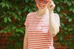canada day outfit, red and white stripe knit dress with red accessories