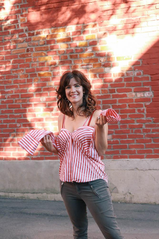 summer classic twist on button down stripe shirt