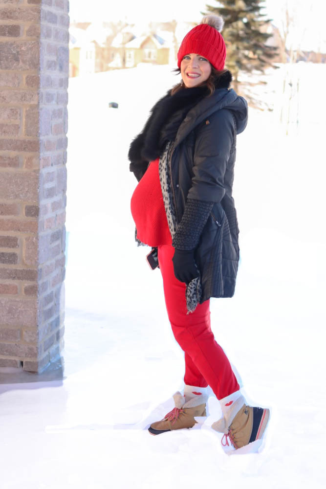 valentines day, red outfit, monochromatic, red style, red sweater, winter style, casual outfit, pregnant style