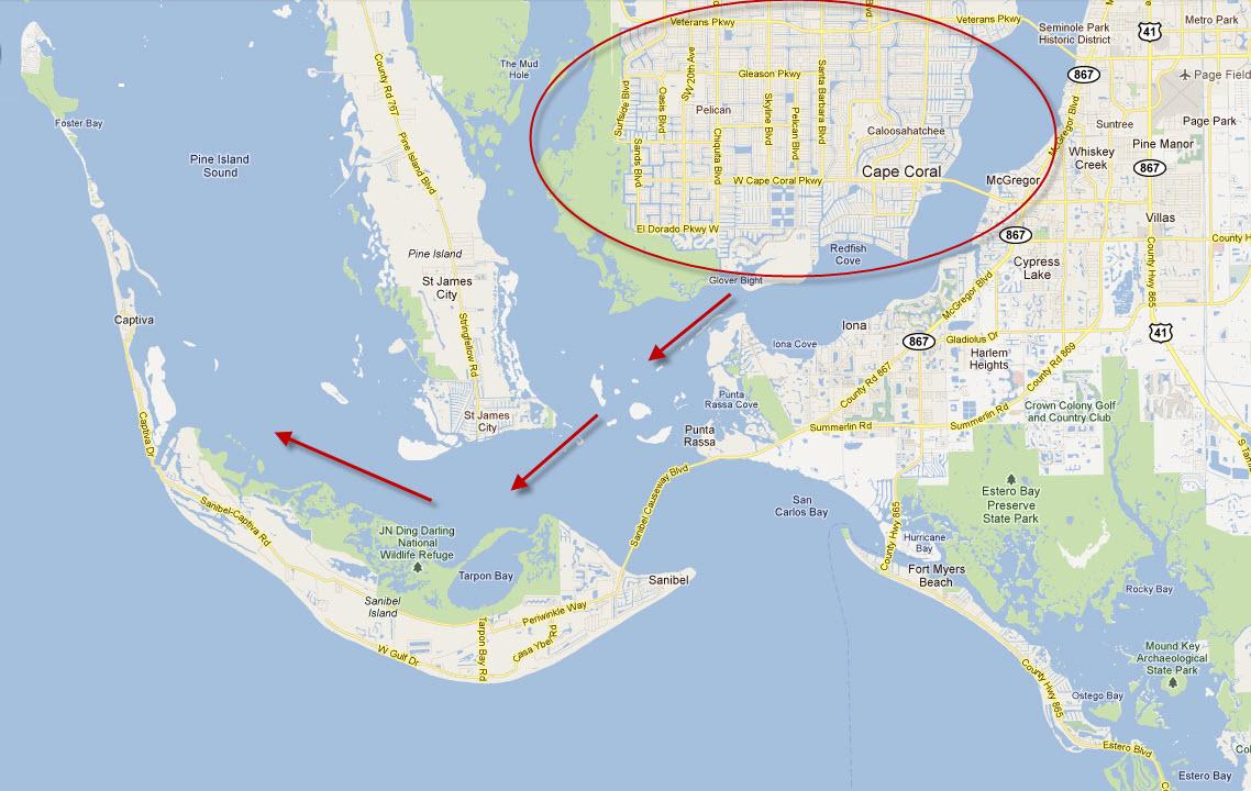 Cape Coral Florida Canals Map