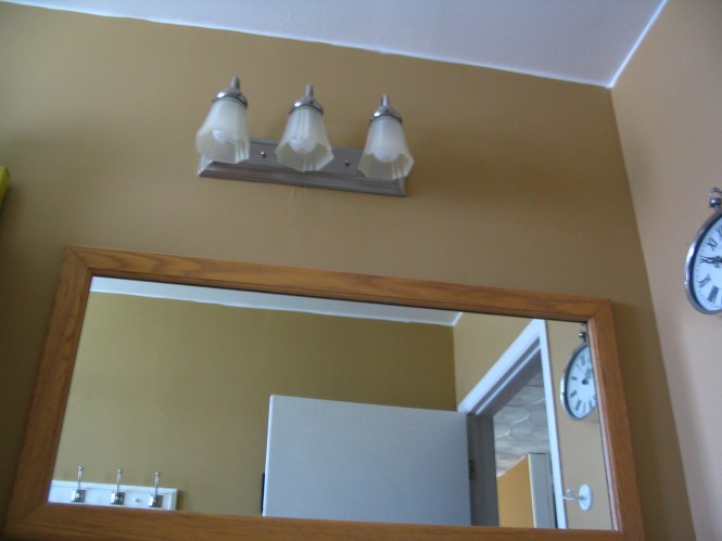 Bathroom Mirror Not Centered bathroom light fixture not centered - bathroom design