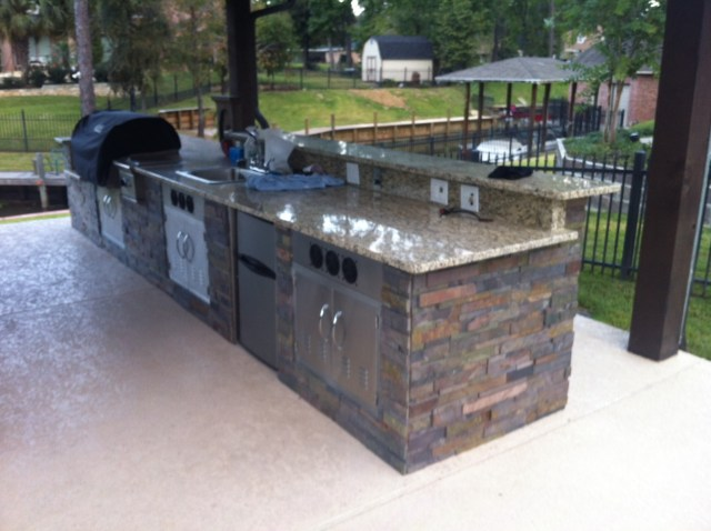 just about done with my outdoor kitchen (diy) (granite, grill, hot
