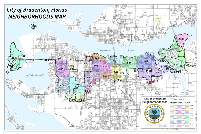 Manatee County Florida Zip Code Boundary Map