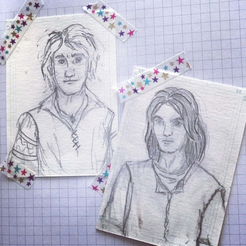 pencil sketches of two young men