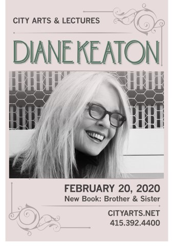City Arts & Lectures presents Diane Keaton February 20 2020 - New Book: Brother & Sister - a black and white photograph of a grey-blond woman wearing thick-rimmed glasses laughing and looking away from camera