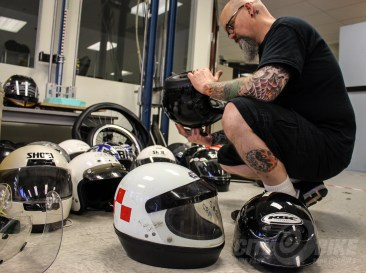 Sorting and labeling helmets. Photos: Angelica Rubalcaba.