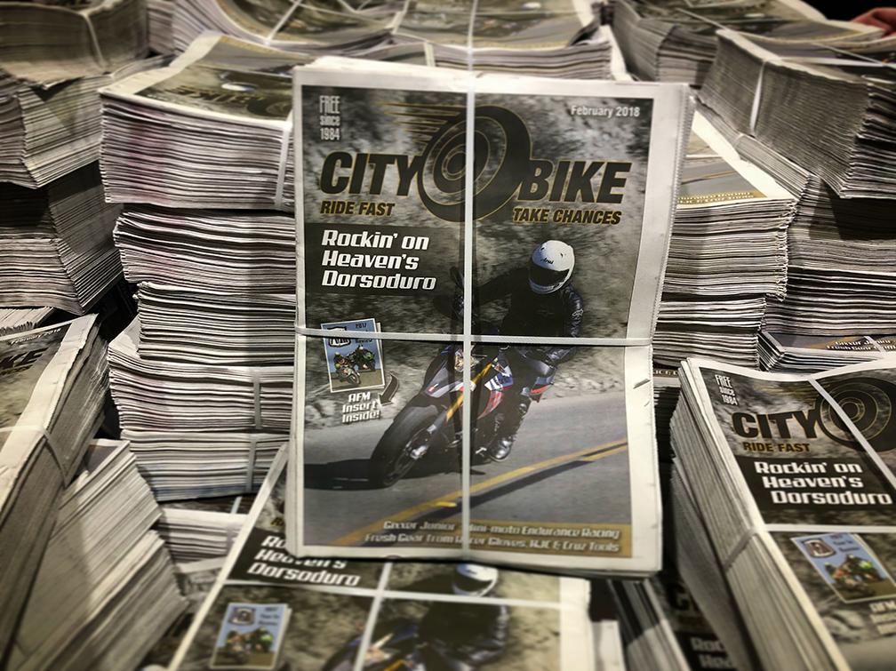 Stack of CityBike Magazine February 2018 issues.