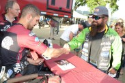 Brad Baker meets a fan at the 2018 Calistoga Half-Mile.