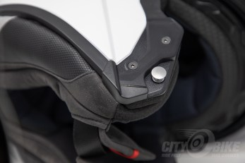 Part of the closing mechanism on the HJC RPHA 90 modular helmet