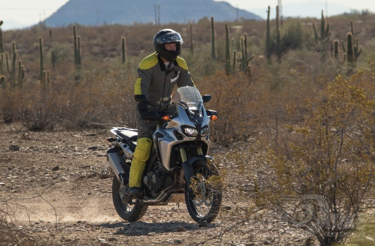 Max riding Honda's Africa Twin DCT in Saguaroland.