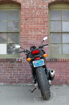 Honda NC700X - rear view. Photo: Angelica Rubalcaba.