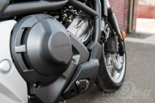 Honda NC700X - right side of engine and DCT badging. Photo: Angelica Rubalcaba.