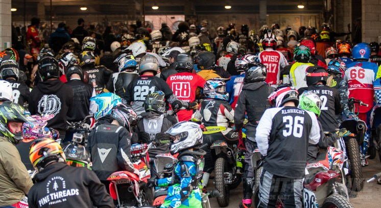 Sea of racers waiting for practice at the 2018 One Pro flat track race