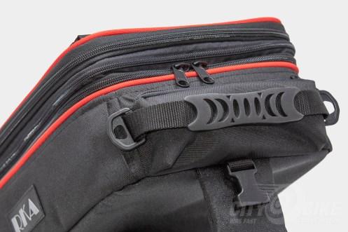 Rubberized handle on RKA's SuperSport 19.5 liter expandable tankbag