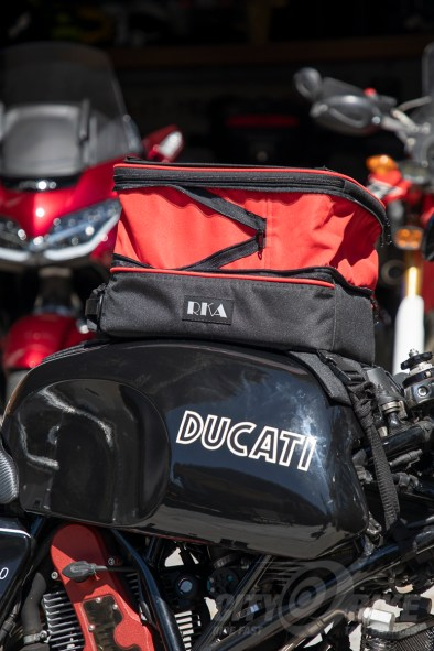 An's RKA SuperSport 19.5 liter expandable tankbag mounted on the Utili-Duc