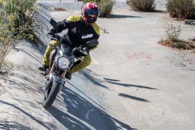 Surj about to drop back in on the Kawasaki Z125 Pro.