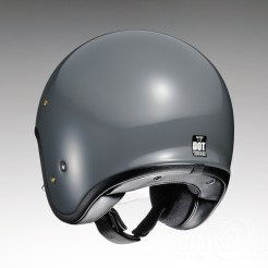 Shoei J•O open-face helmet in rat grey - rear.