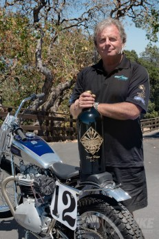 Terry with a never-awarded trophy bottle from the canceled 2015 Calistoga Half-Mile.