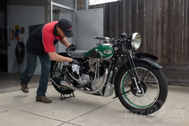 Brent gives his '36 BSA a quick once-over.