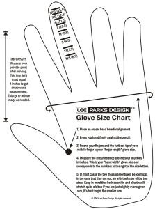 Lee Parks Design glove size chart