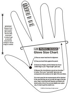 Lee Parks Design glove size chart