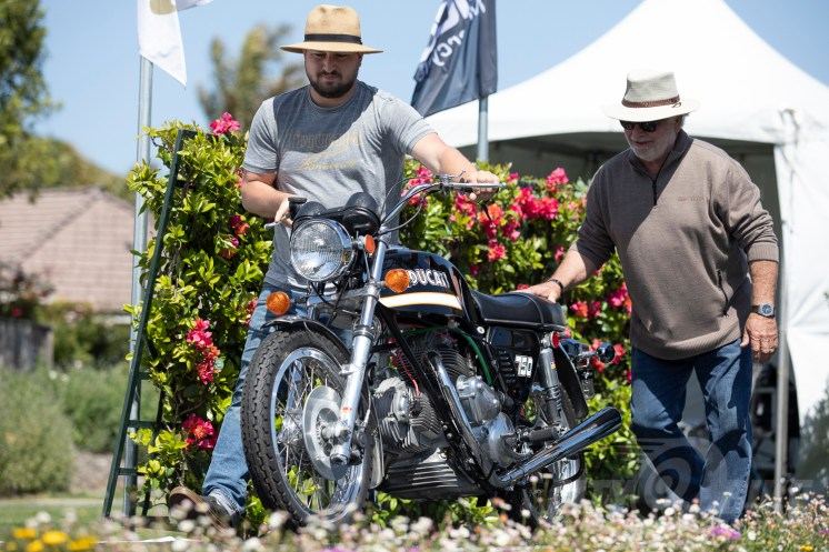 Stewart and Renee Garrison's 1972 Ducati 750 GT at the 2019 Quail Motorcycle Gathering. Photo: Angelica Rubalcaba.
