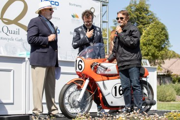 Ron Mousouris's 1967 Honda 450 Daytona Racer at the 2019 Quail Motorcycle Gathering. Photo: Angelica Rubalcaba