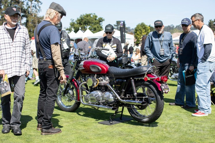 Steve's beautifully crafted double-engine Triumph Bonneville on the green. Photo: Angelica Rubalcaba.