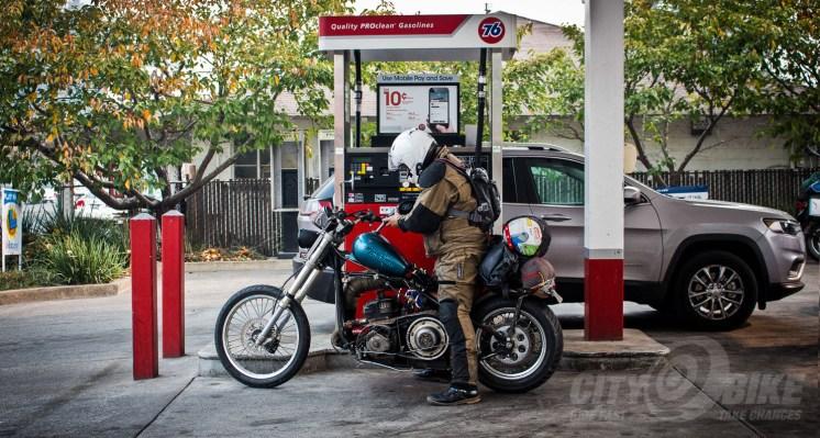 Gassing up SnoMoChop. Photo: Graf Holzfeuer.