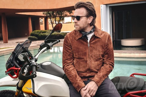 Moto Guzzi V85TT with fully clothed Ewan McGregor