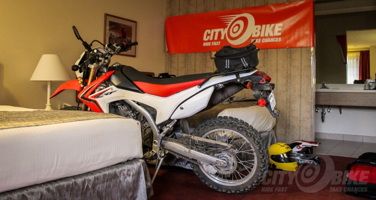 Honda CRF250L Project Bike in a Hotel Room