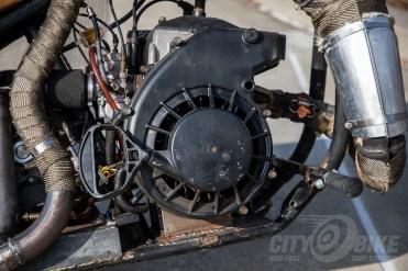 The heart of SnoMoChop: pullstart, 550cc Polaris 2-stroke snowmobile engine. Photo: Angelica Rubalcaba.
