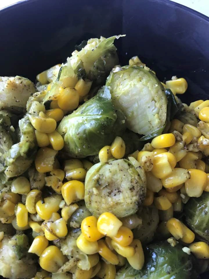 Weekend Recipe: Spiced Brussel Sprouts & Corn Harvest
