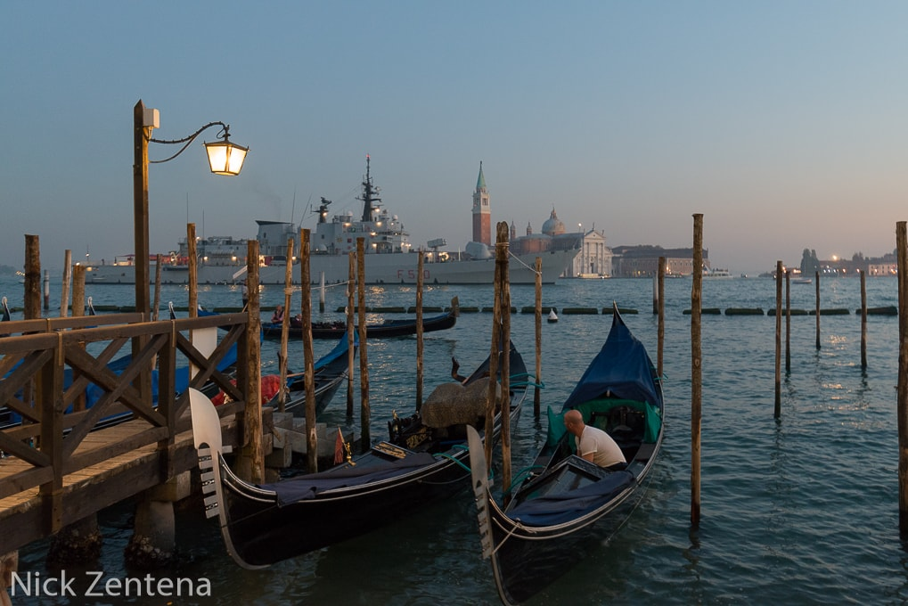 Gondolas of Venice in the haze
