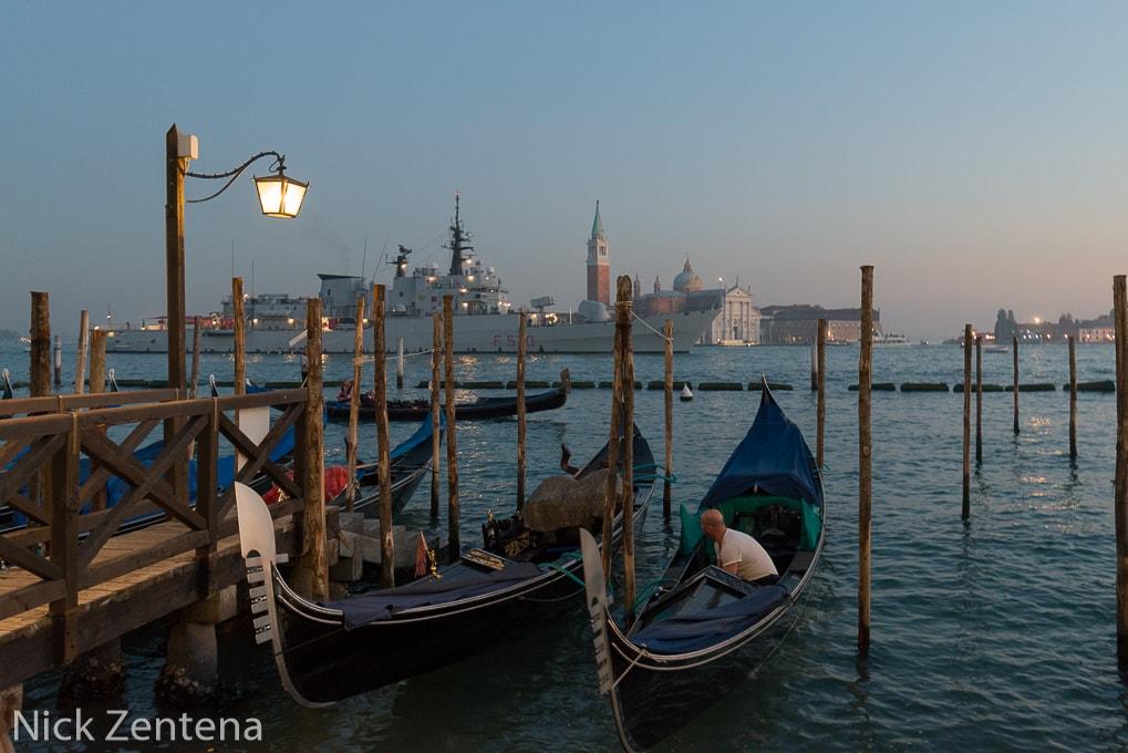 Gondolas of Venice in the haze