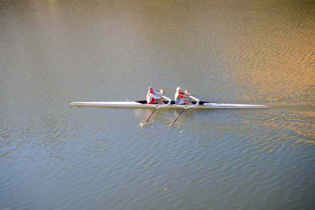 Rowers on the river Arno in Florence Italy