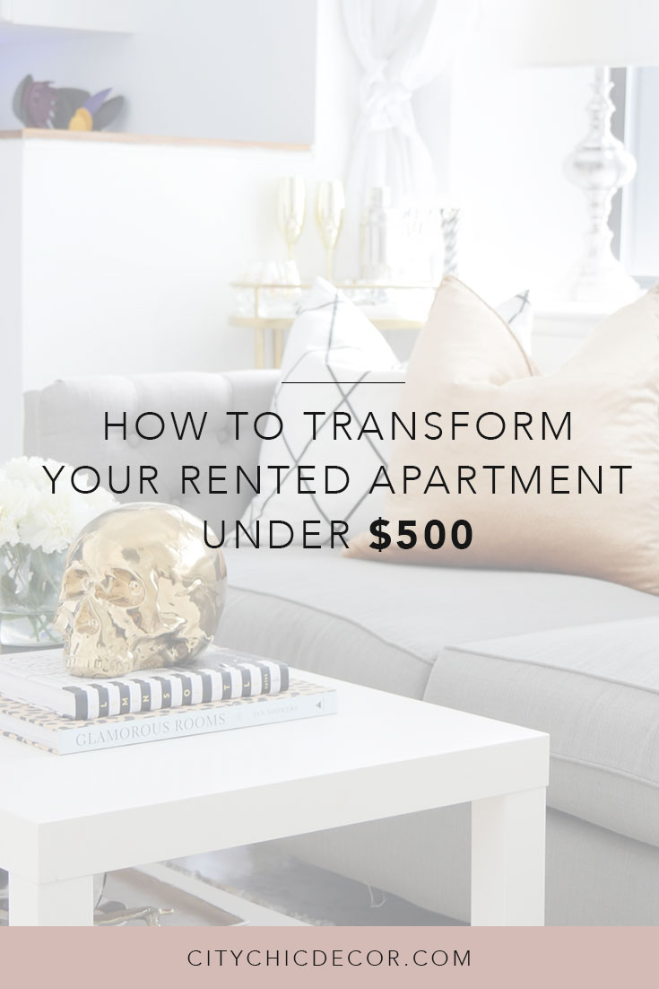 Learn how to transform your rental apartment for under $500 with these budget friendly decorating ideas. These decorating ideas for apartments and DIY will make your small home, small living room or small apartment stand out from the rest.