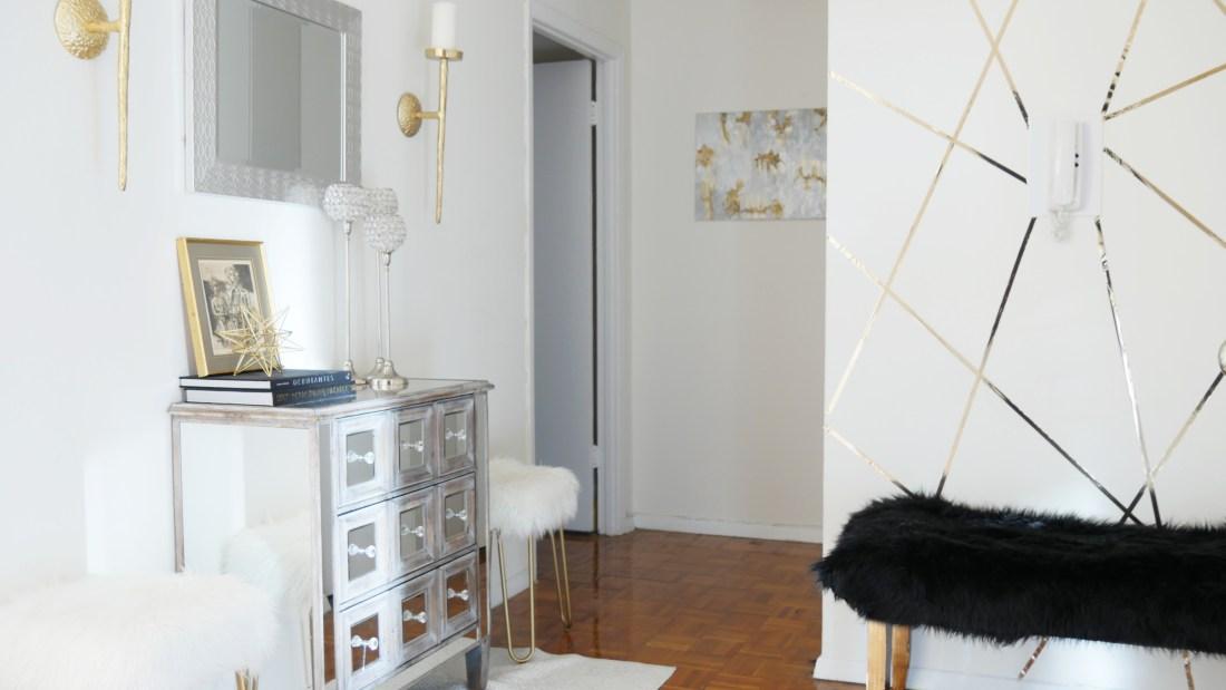 glam apartment faux wallpaper