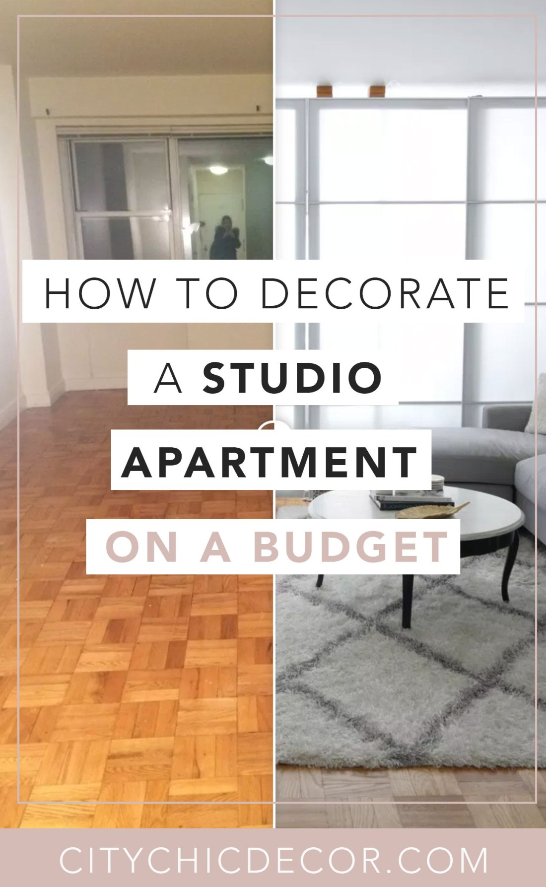 Struggling to decorate your studio apartment? Have no fear! You can create a chic oasis on a low budget. Learn how to decorate your studio now and create a faux wall! #studioapartment #studioapartmentideas #studioapartmentdecorating #roomdividerideas