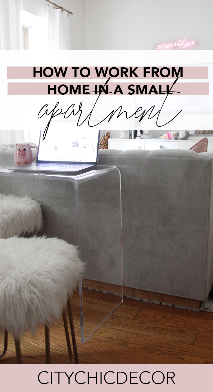 Live in a small apartment and don't have room to have a proper office? Self-quarantining because of the Coronavirus or COVID-19? Use these tricks to stay productive and comfortably work from home! #workfromhome #smallapartmentdecorating #smallapartmentideas #rentalhomedecoratingdiy