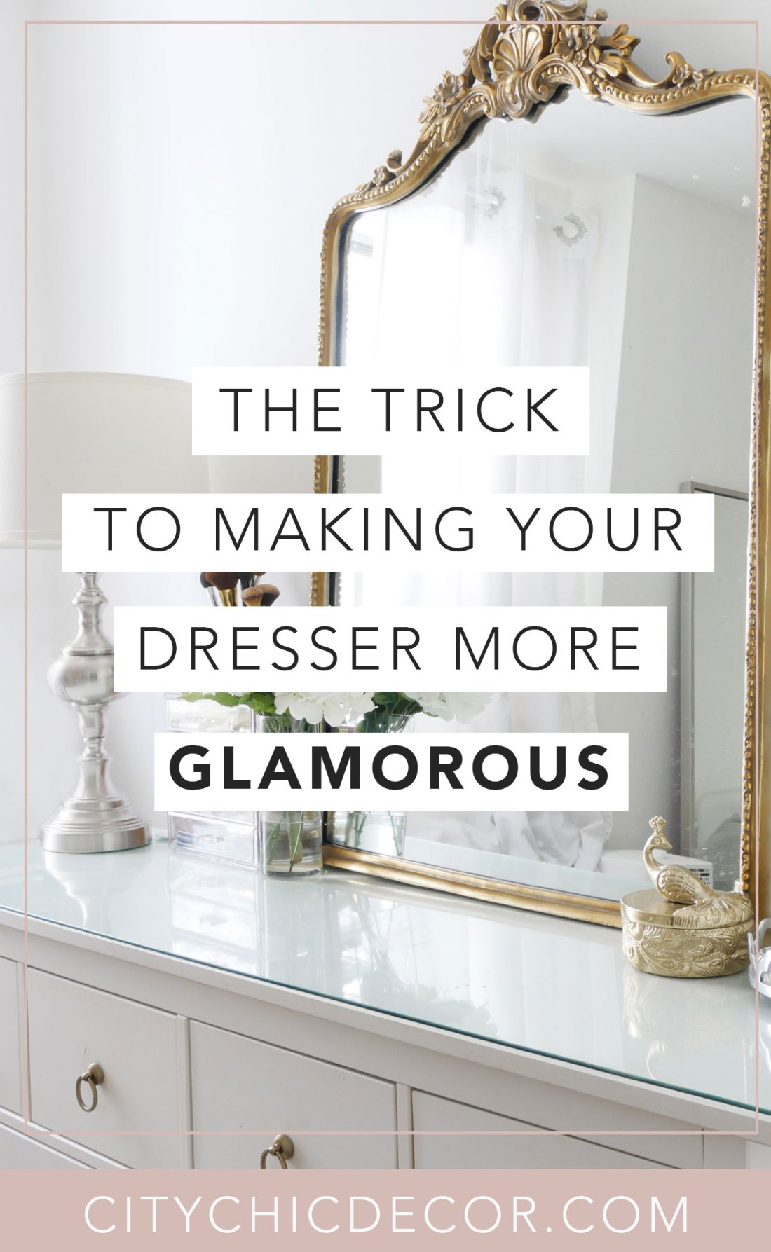 Struggle to find ways to create a glam dresser? Not sure how to decorate it with decor? This one trick will transform your dresser and make it a show-stopper! #dresserdecor #dressermakeover #smallbedroomideas #bedroomideas #bedroomdecor