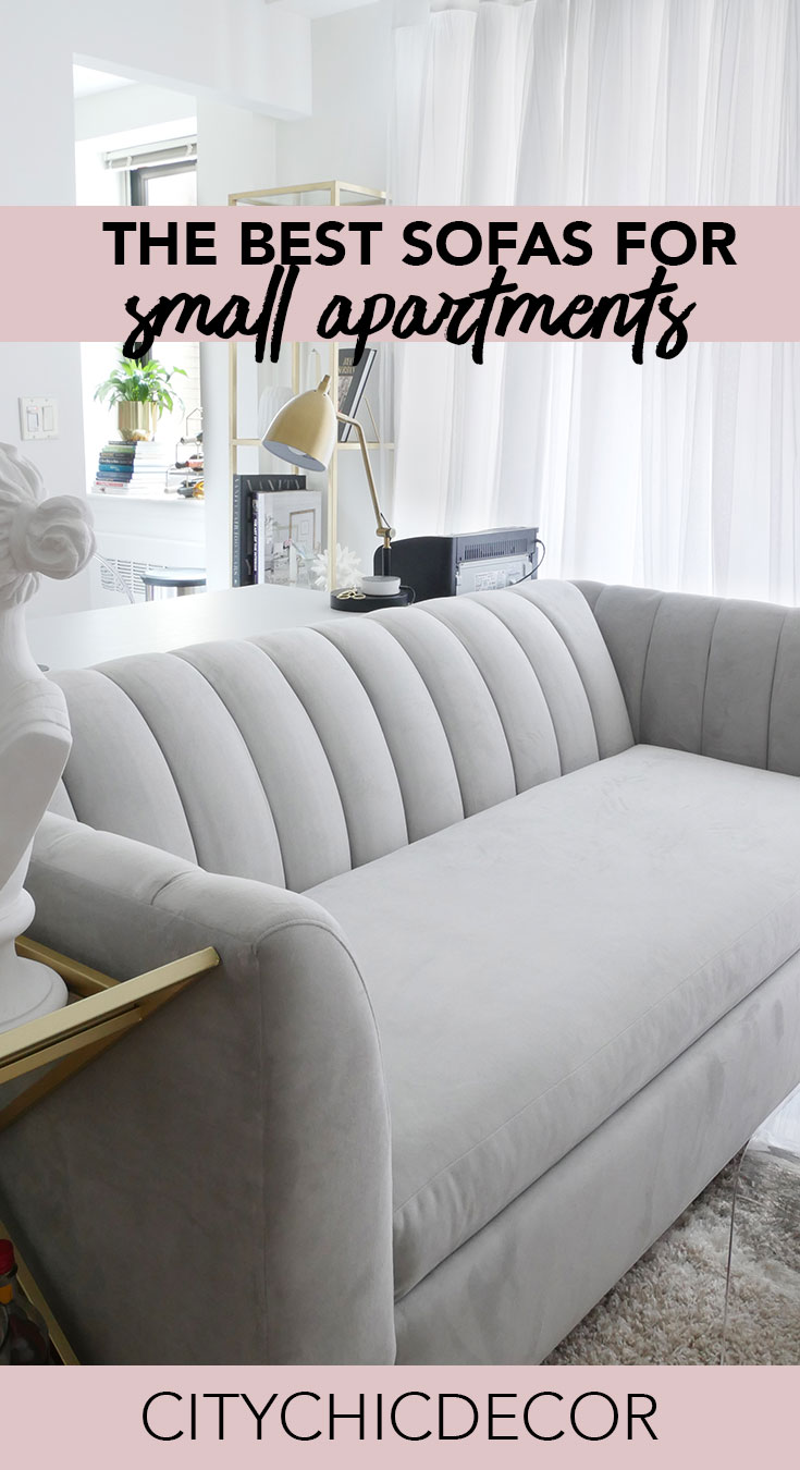 Live in a small apartment? Struggle with finding furniture to fit in your small space? These chic, small sofas will create a large impact in your small apartment! #smalllivingroomideas  #smallapartmentdecorating #livingroomdecor #livingroomideas #studioapartment #studioapartmentideas #studioapartmentdecorating