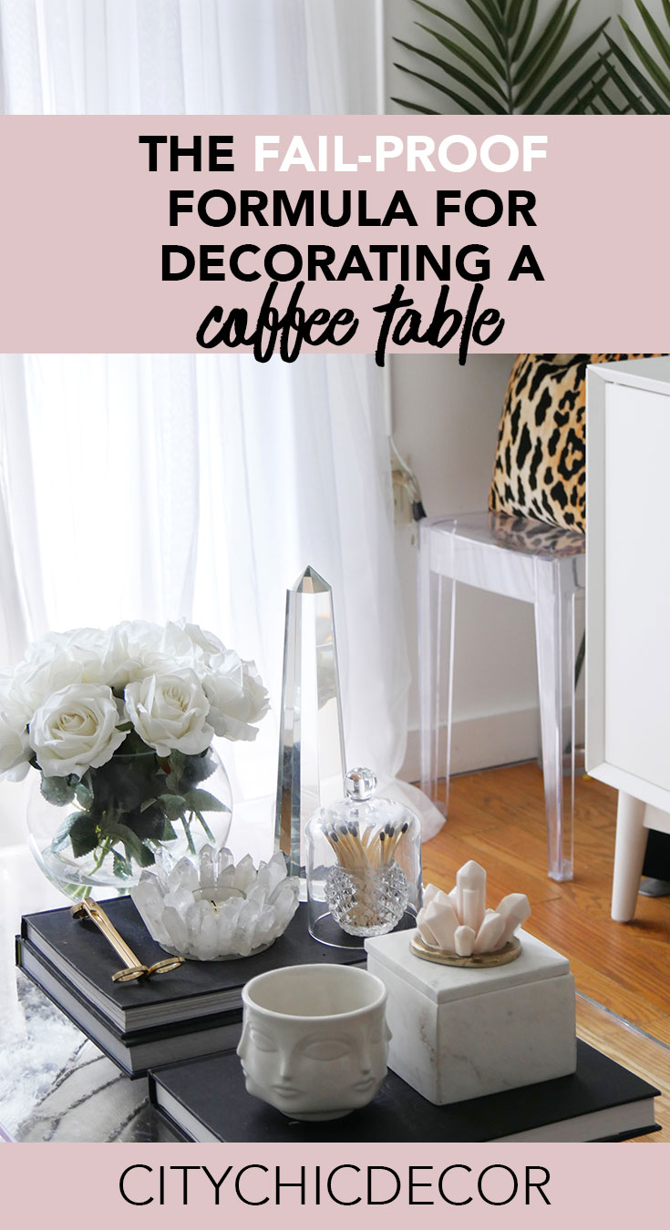 If you were to decorate only one thing in your living room, it should definitely be your coffee table. All coffee tables need to have some decor on it! There are no exceptions. This is a go-to formula for decorating a chic coffee table. #coffeetabledecor #coffeetablemakeover #smalllivingroomideas #livingroomdecor #livingroomideas
