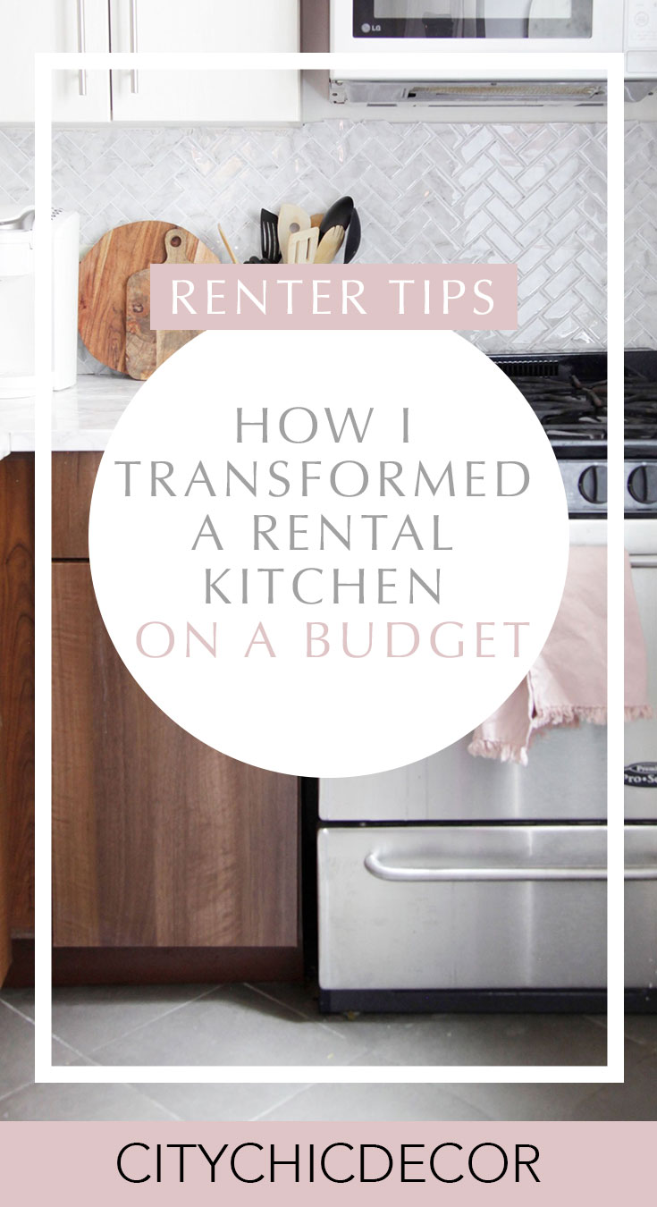 Have an old rental kitchen and dream of having a marble kitchen? Use these temporary solutions to create a kitchen that all your guests will drool over! #rentalkitchenmakeover #kitchenideas #smallkitchenideas #kitchenideasonabudget #rentalhomedecorating #rentaldecorating #rentalapartmentdecorating #rentalhomedecoratingdiy