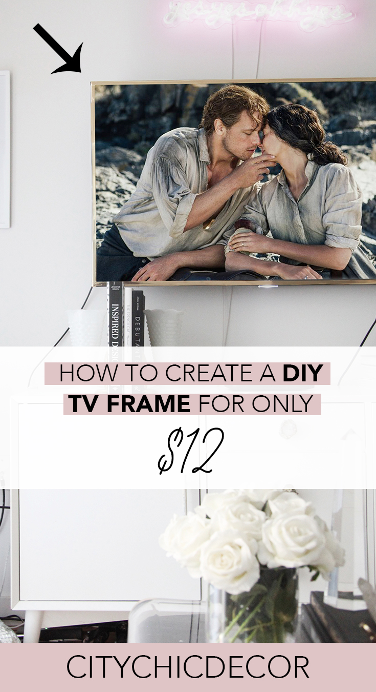 Tired of your boring TV? You can create a budget-friendly DIY gold TV frame quickly! Learn how to create this amazing, chic DIY here. #smallapartmentideas #livingroomdecor #livingroomideas #walldecor #DIYtvframe