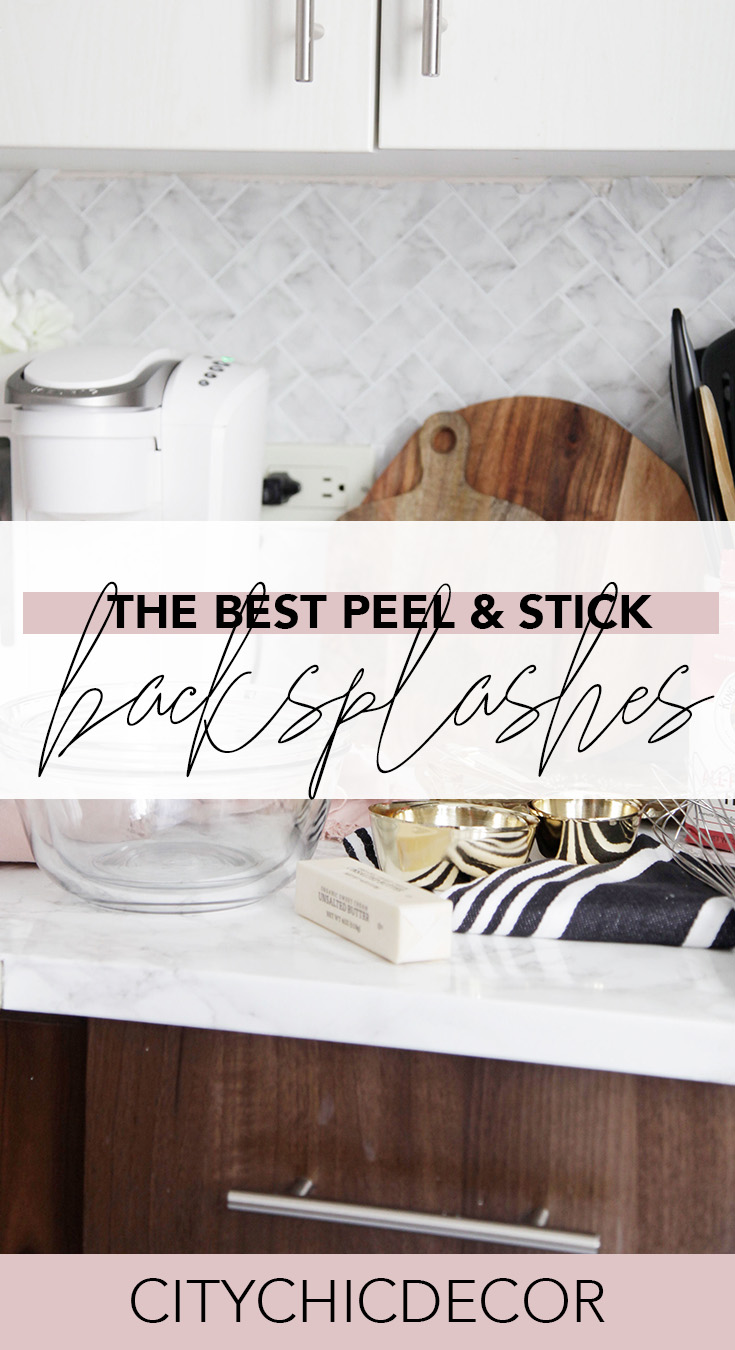 If you live in a rental home and struggle decorating it, you need to know about these peel & stick backsplashes. You can use these from your kitchen to your bathroom! #rentalhomedecorating #rentaldecorating #rentalapartmentdecorating #removablewallpaper #removablebacksplash #removableflooring #peelstick
