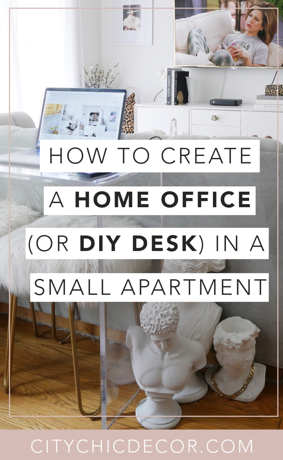 Struggling to work from home in your small apartment or studio apartment? Not having a dedicated home office in a smaller space can be frustrating. I am showing you three easy ways you can create a chic, home office and DIY desk in your small home for cheap! These home office ideas will help you create a desk setup that will allow you to easily work remotely.