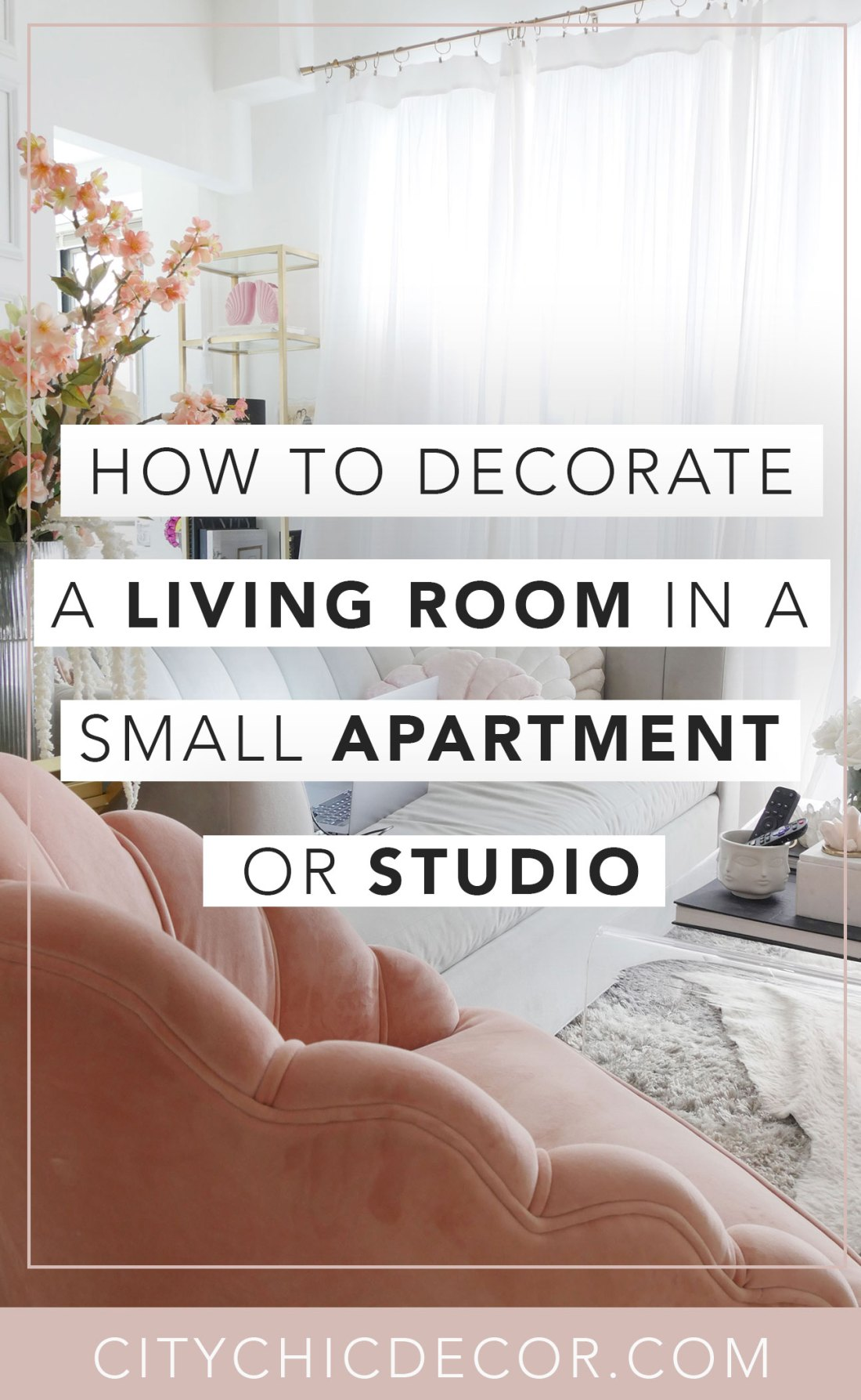 Decorating a living room in a small apartment or studio apartment can be challenging, but not impossible! You can achieve your dream living room in a tiny apartment with these four tips that include living room ideas and living room decor ideas to make a living room feel so much cuter and larger! It also includes how to decorate a TV wall and the trick to designing a living room in a small space.