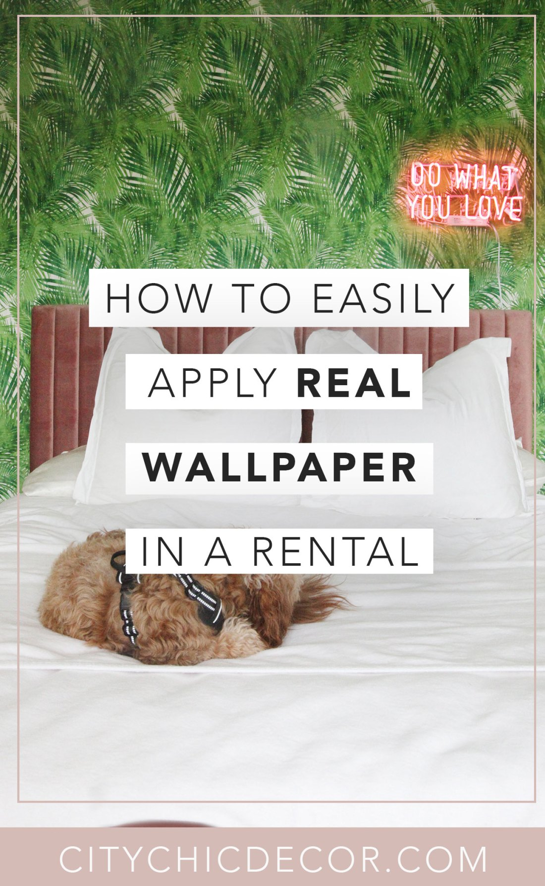 Want to know how to easily hang and install non pasted wallpaper? You can hang pre pasted wallpaper with NO damage in your home or rental apartment using liquid starch! No damage and it's super easy to install. You can even remove it upon moving out! #vintagewallpaper #removablewallpaper #tropicalwallpaper #blushtropical #prepastedwallpaper