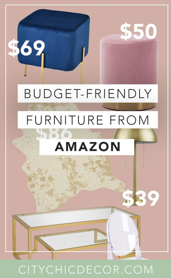 These glam, cheap furniture items from Amazon will blow you & your house guests away. From chic decor to stunning velvet chairs, you'll be shocked with how budget-friendly these things are! #furnituredesign #furnitureideas #affordablefurniture #affordablefurnitureideas #amazon #thingstobuyonamazon